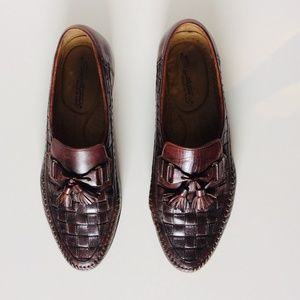 Men's Santoni Brown Leather Top Weave Loafers